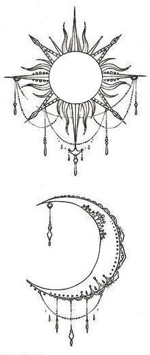 ... Sun Moon Tattoos on Pinterest | Sun drawing Moon tattoos and Luna