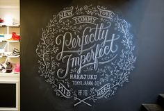 Chalk typography and chalk art inspiration including chalk designs from Dana Tanamachi Chalkboard Typography, Chalk Lettering, Types Of Lettering, Typography Letters, Graphic Design Typography, Chalkboard Ideas, Handwritten Typography, Blackboard Wall, Chalkboard Drawings