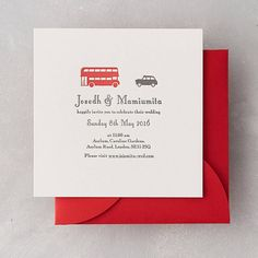 London Taxi Letterpress Wedding Invitation by Wolf & Ink, the perfect gift for Explore more unique gifts in our curated marketplace. Letterpress Wedding Invitations, Wedding Invitation Sets, London Wedding, Taxi, Rsvp, Cards Against Humanity, Wedding Ideas, Prints, Products