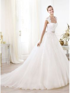Tulle Soft Neckline Wedding Dress with Cap Sleeves PS0038