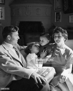 English actor James Mason and his wife Pamela, with their children Portland and Alexander Morgan, 1956