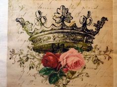 Crown with roses on antique book page