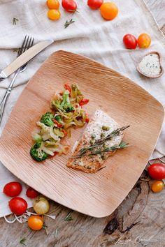 Salmon and veggies - yum!