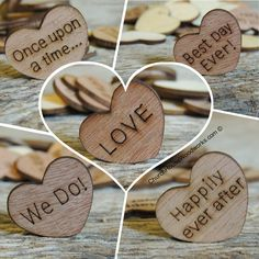 Wood Heart Wedding Confetti, Fairy Tale Wedding Decorations, Once upon a time, Love, Happily ever after, We Do, Best Day Ever!  Wooden hearts with words.