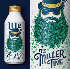 Miller Lite St Patty's Day:  A limited edition can illustration and artwork for Miller Lite St. Patty's Day. This was also part of a larger campaign that was on coasters, a snapchat filter, and ads - Conrad Garner of Tampa, Florida, USA - conradgarner.com