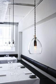 Sm is Unika is a mouth-blown glass pendant lamp, originally designed for Restaurant Grønbech and Churchill in Copenhagen. Restaurant Hotel, Restaurant Design, Blown Glass Pendant Light, Glass Pendants, Glass Lamps, Glass Lights, Heart Pendants, Light Pendant, Interior Lighting