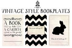 """[free printable] vintage style, black and white bunny rabbit and chevron striped bookplates / nameplates. """"this book belongs to..."""" 10 Awesome FREE Office Printables"""
