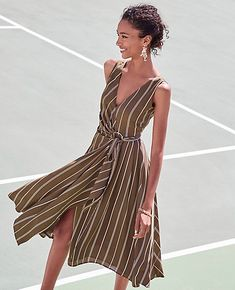 Stripe Belted Wrap Dress | Ann Taylor