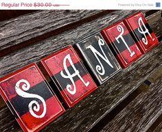 Save 15% Now :) SANTA Belt Christmas Decor Wood Blocks Santa Clause Holiday Decorations on Etsy, $25.50
