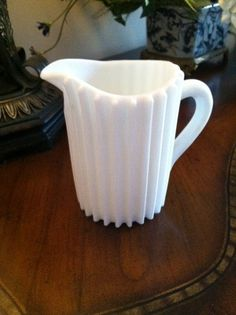 Fenton Ribbed Milk Glass Creamer Pitcher by FrannieBee on Etsy