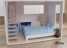 "Polubienia: 31, komentarze: 3 – Malina Dollhouse (@malina_dollhouse) na Instagramie: ""Bedroom in blue colors. For Barbie and her child. #dollhouse #dollhousefurniture…"""