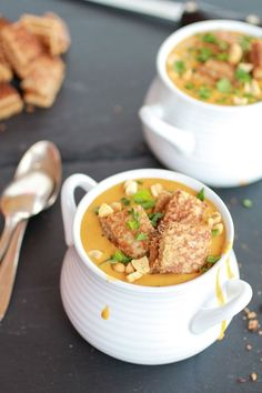 Thai Peanut Soup With Grilled Peanut Butter Croutons.