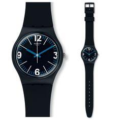 Swatch Four Numbers Uhr GB292 Analog Silikon Schwarz