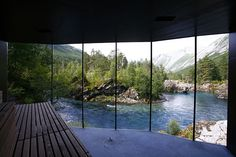 The Juvet Landscape Hotel, Valldal, Norway. All mirrors towards the view so you get to see it all. Minimalist hotel so that nature is all you pay attention to. -Lindsey