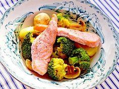 Citronbakad lax med currygrönsaker