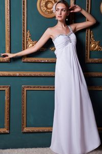 Affordable One Shoulder White Long Graduation Dress with Beads