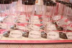 personalised name tags on champagne glasses for party
