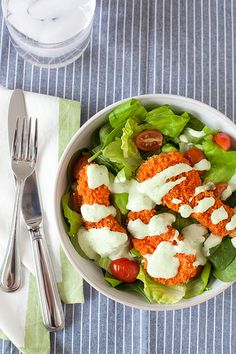 Buffalo chicken salad with creamy avocado ranch dressing - Boy does this look good!