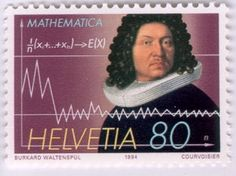 The Swiss Bernoulli family is well known for their many offsprings who gained prominent merits in mathematics and physics in the century. Jakob Bernoulli, born in 1654 (or 1655 according to the Postcard Postage, Postage Stamps, Binomial Theorem, Study Philosophy, Cogito Ergo Sum, Calculus, Tampons, Stamp Collecting, Science And Technology