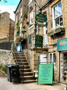 The Wrinkled Stocking Tearooms in Holmfirth, West Yorkshire, UK. Appropriately named for it's right next door to the TV home of Nora Batty of Last of the Summer Wine fame!