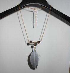 Tribal style gold tone necklace with grey beads&feather