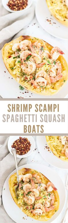 Paleo Shrimp Scampi Spaghetti Squash Boats - 30 minutes and you'll have a meal that's healthy, delicious, and packed with flavor! You can also choose to prep the squash ahead of time making this a 10 minute meal! This but with Fish or Chicken Spaghetti Squash Boat, Spaghetti Squash Recipes, Paleo Spaghetti, Spaghetti Squash Shrimp Scampi, Chicken Spaghetti, Seafood Recipes, Paleo Recipes, Cooking Recipes, Paleo Whole 30