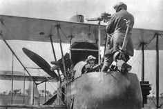 "THIS DAY IN WWI: APR 3, 1916 - ""Fokker Scourge"" Coming to an End as New Allied Fighters Take Flight. Pictured - The observer in an F.E.2 demonstrates how he must stand up to use the rear-facing Lewis gun over the top plane."