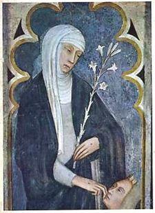 Santa Caterina da Siena, affresco di Andrea Vanni nella Basilica di san Domenico, Siena. Vissuta fra il 1347 e il 1380, fu canonizzata nel 1461. E' patrona d'Italia e d'Europa.