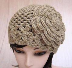 Clearance / Half Price / Tan Wool Flower Crochet Hat by MyMayaMade Crochet Cap, Crochet Baby Hats, Crochet Beanie, Knitted Hats, Easy Crochet Hat Patterns, Sombrero A Crochet, Funny Hats, Stylish Hats, Crochet Flowers