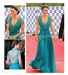 Wholesale TOP Selling Kate Middleton Sexy V Neck Lace and Chiffon Red Carpet Occasion Dresses Celebrity Gowns, Free shipping, $114.24-123.2/Piece | DHgate