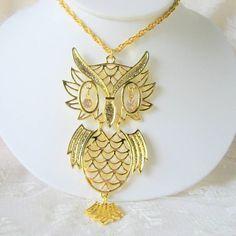Large Crystal Eyed Owl Necklace Pendant Hinged by AntiquesduJour, $14.99
