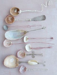 seashell spoons. use for herbs, sugar, salt or tea. pierce shell and thread wire through. twist to make handle