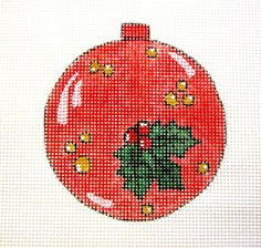 Red Christmas Ball w/Holly Ornament Handpainted Needlepoint Canvas #Unbranded