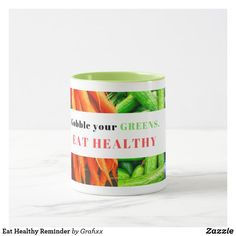 Shop Eat Healthy Reminder Mug created by Grafixx. Personalize it with photos & text or purchase as is! Thermogenic Foods, White Chocolate Brownies, Excessive Hair Loss, Fiber Rich Foods, Food Categories, Oils For Skin, How To Increase Energy, Hair Health, Eat Healthy