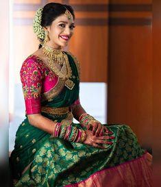 South indian blouse designs for a royal bridal look shaadisaga Lehenga Designs, Wedding Saree Blouse Designs, Pattu Saree Blouse Designs, Half Saree Designs, Fancy Blouse Designs, Saree Wedding, Wedding Bride, Designer Sarees Wedding, Hair Wedding