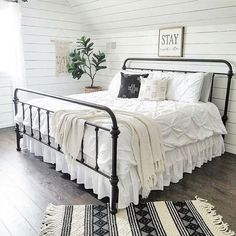 Are you looking for pictures for farmhouse bedroom? Browse around this site for amazing farmhouse bedroom ideas. This farmhouse bedroom ideas seems to be entirely fantastic. Dream Bedroom, Home Decor Bedroom, Bedding Decor, Bedroom Black, Pretty Bedroom, Decorating A Bedroom, Bedding Sets, Target Bedding, Beach Bedding