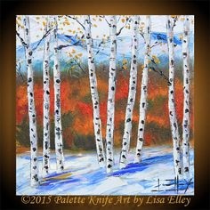 This is a high quality, signed, professional giclee print of my original 2015 painting Winter Birch lV  I N S P I R E D* B Y: Birch Trees take me back to my childhood. Long walks in the crackling leaves, the smell of a wood fire burning, hot chocolate, exploring my grandpas shed... This painting features a scene in amazing South Lake Tahoe, here in northern California. The Sierra Nevada mountains are magical all year round, and here they are in the fall blazing with color! T I T L E: Winter…