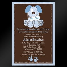 Cute Puppy Dog Printable Baby Shower Invitation. $12.99, via Etsy.