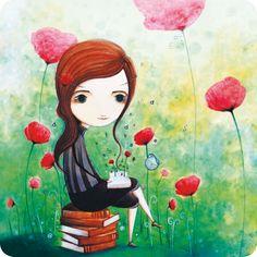"Jehanne Weyman carte postale carrée (14 cm) ""La lectrice"""