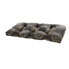 Tempo Terrasol Outdoor Settee Cushion Fabric: Black