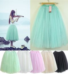 Women Fashion Princess Fairy Style 5 layers Tulle Dress Bouffant Skirt 5 Colors