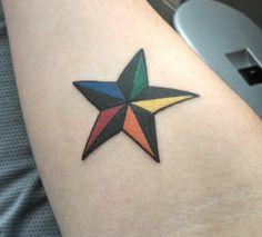 Nautical Star Tattoo. Colorful tattoo. Nautical star. Colorful. Men's tattoo. Forearm tattoo. Small tattoos.