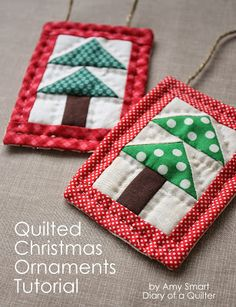 Mini Christmas Tree Quilt Ornament Tutorial - Where was this pattern when I was making my Christmas ornaments this fall?