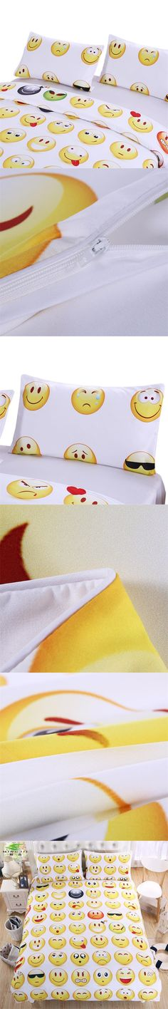 2017 NEW Emoji Bedding Set Cute Interesting Fashion for Young Printed Bedlinen 3Pcs Twin Full Queen King Bedspreads Pillowcases