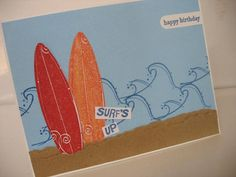 Surfs Up Beach Birthday Card for guy/male/teen boys