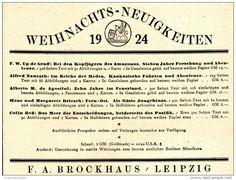 Werbung - Original-Werbung/ Anzeige 1924 - WEIHNACHTS- NEUIGKEITEN / BROCKHAUS - LEIPZIG - ca. 120 x 90 mm