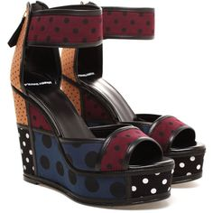 PIERRE HARDY Contrasting Polka Dot Wedges (¥35,695) ❤ liked on Polyvore featuring shoes, sandals, heels, ankle tie sandals, high heel wedge sandals, peep toe wedge sandals, high heel shoes and peep toe sandals