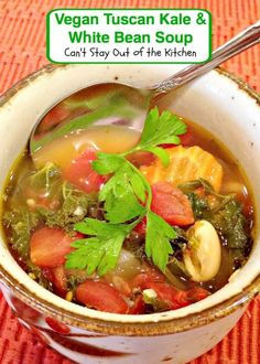 Vegan Tuscan Kale and White Bean Soup | Can't Stay Out of the Kitchen | wonderful, hearty #soup that's healthy and low calorie. #glutenfree #vegan
