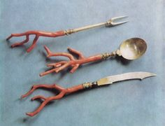 coral handled utensil set (antique?)