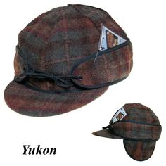 Wool Cap FOLD DOWN EAR FLAPS Wyoming Traders Rust/Tan Plaid Outside Seams Ear Warmers, Wyoming, Saddle Bags, Rust, Plaid, Cap, Pure Products, Wool, Chess